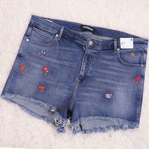 EXPRESS - NWT Embroidered Raw Hem Denim Shorts